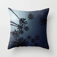 Palm Trees, Night Sky, Stars, Moon Throw Pillow