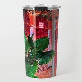 Neon Pink Wine Shop with Banana Leaves Travel Mug