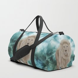 Awesome white lion in the sky Duffle Bag