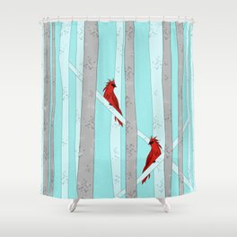 Holiday Forest Cardinals Design Shower Curtain
