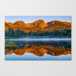 Rocky Mountain Park Mountain Landscape - Colorful Sunrise Reflections Canvas Print