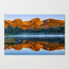 Rocky Mountain Park Mountain Landscape - Colorful Sunrise Reflections Canvas Print