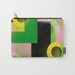 color blocking geometric pink green yellow black Carry-All Pouch