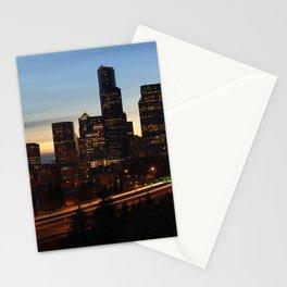Seattle Skyline Sunset City Stationery Cards