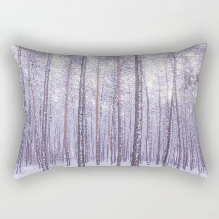 Snow in Trees Rectangular Pillow