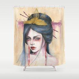Amaya - Japanese inspired portrait painting Shower Curtain