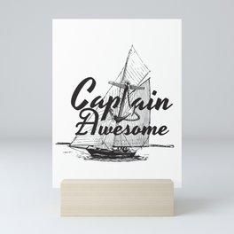 Captain Awesome  Anchor Funny Nautical Sailing Boat Gift Mini Art Print