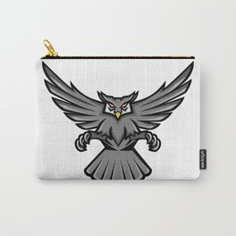 Horned Owl Swooping Front Mascot Carry-All Pouch