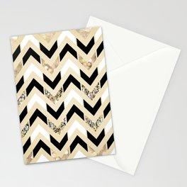 Black, White & Gold Glitter Herringbone Chevron on Nude Cream Stationery Cards
