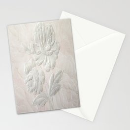 Embossed Painterly White Floral Abstract Stationery Cards