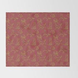 Golden Retriever Pattern (Terracotta Red Background) Throw Blanket