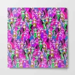 Belly Dancers - Psychedelic Neon Metal Print