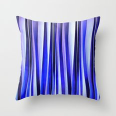 Peace and Harmony Blue Striped Abstract Pattern Throw Pillow
