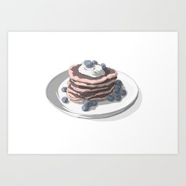 Pancakes with blueberries Art Print