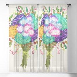 BOUQUET FLOWERS Sheer Curtain