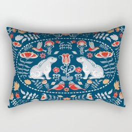 Bunnies, hummingbirds, birds, flowers and leaves. Oval decorative ornament. Floral decorative frame. Rectangular Pillow