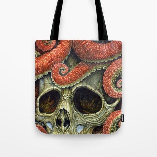 orange tentacles skull Tote Bag