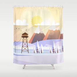 Vector Art Landscape with Fire Lookout Tower Shower Curtain