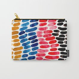 Colorful Watercolor Scales Aquatic Pattern Yellow Blue Red Primary Colors Carry-All Pouch