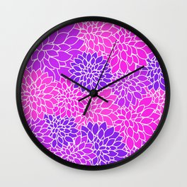 Shades Of Purple - Bright Floral Pattern - Flower Art Wall Clock
