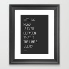 Lines / First Version / Mono Framed Art Print