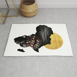 Africa Map Afrocentric Black Woman Portrait Rug