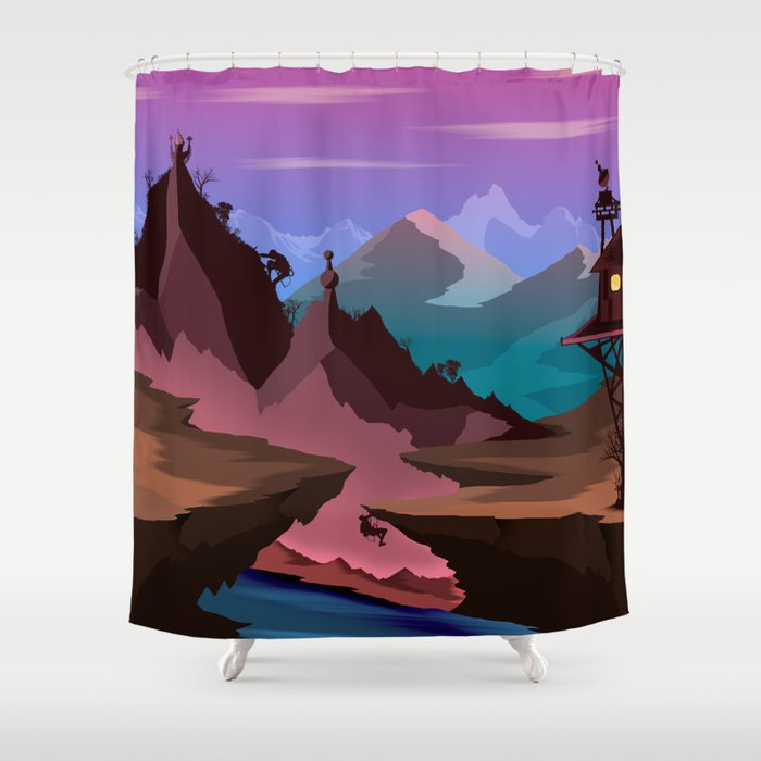 Race Of The Tomb Raiders Shower Curtain