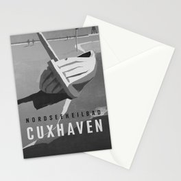retro noir Nordseeheilbad Cuxhaven poster Stationery Cards