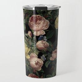Vintage Roses and Iris Pattern - Dark Dreams Travel Mug