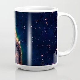 over a galaxy in the space Coffee Mug