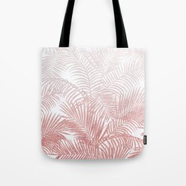 Elegant faux rose gold gradient glitter tropical plants pattern Tote Bag