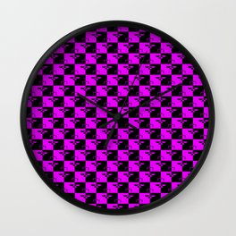 Hot Pink and Black Checkerboard Scales of Justice Legal Pattern Wall Clock
