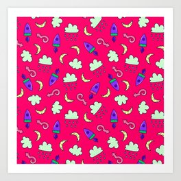 Doddles spacecrafts clouds and moon in pink space pattern Art Print