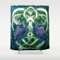 celtic Shower Curtains featuring Celtic Peacocks by D. Renee Wilson