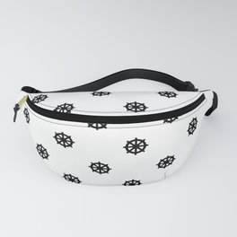 Dharma Wheel Pattern (Black and white) Fanny Pack