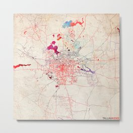 Tallahassee map Florida painting Metal Print