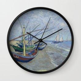 Vincent van Gogh -   Fishing Boats on the Beach at Les Saintes-Maries-de-la-Mer, 1888 Wall Clock
