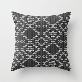 Southwestern textured navajo pattern in black & white Throw Pillow