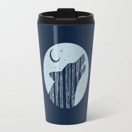 Midnight Blue Woodland Night Wolf Travel Mug