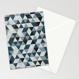 Sea Blue and Grey / Gray - Hipster Geometric Triangle Pattern 02 Stationery Cards