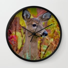 """Deer In The Fall Foliage"" by S. Michael Wall Clock"