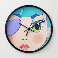 magical girl Wall Clocks featuring Magical Girl by Chanael Burat