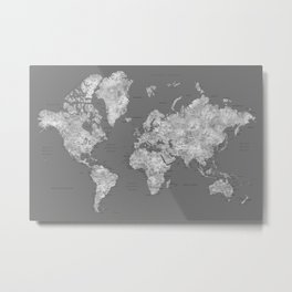 Dark gray watercolor world map with cities Metal Print