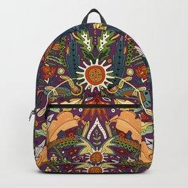 Victorian damask purple Backpack