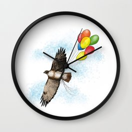 Hawk on his way to a party | Color Wall Clock