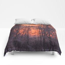 Winter Scene - Frosty Trees Against The Sunset #decor #society6 #homedecor Comforters