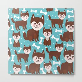 funny brown husky dog and white bones, Kawaii face with large eyes and pink cheeks blue background Metal Print