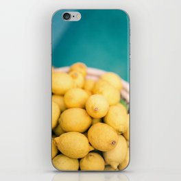 Yellow lemons next to a turquoise pool. | Colorful food photography, tropical feel. iPhone Skin