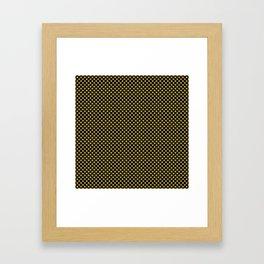 Black and Golden Olive Polka Dots Framed Art Print
