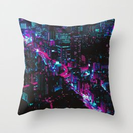 Cyberpunk Vaporwave City Throw Pillow